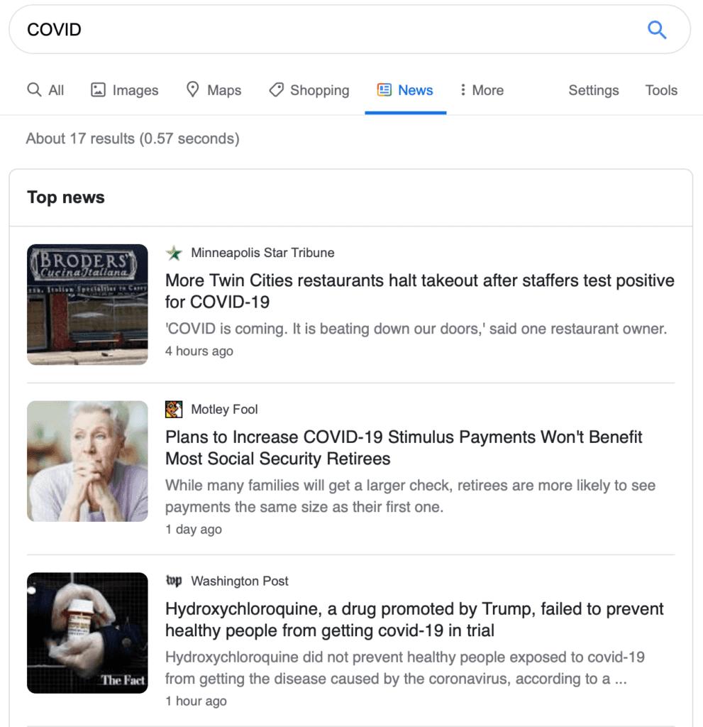 Google search results for COVID